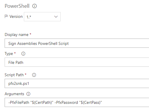 Sign assembly PowerShell task